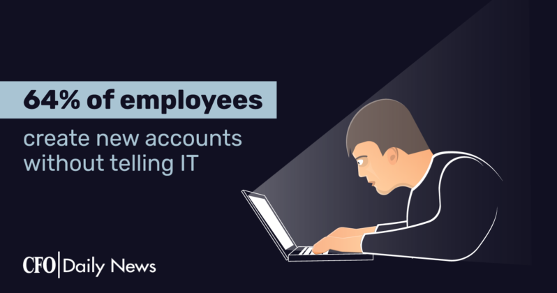 64 percent of employees create new accounts without telling IT